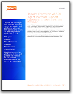 Tripwire Enterprise Agent Platform Support