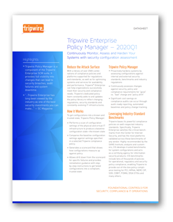 Tripwire Enterprise Policy Manager Datasheet