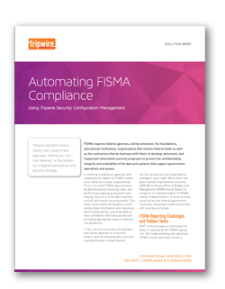 Screenshot of Automating FISMA Compliance Solution Brief